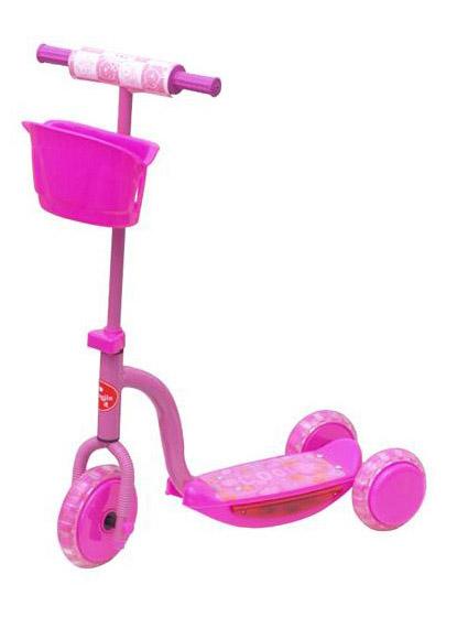 Rosa sparkesykkel med store hjul, musikk og blinking