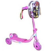 Rosa sparkesykkel m/3 hjul og veske